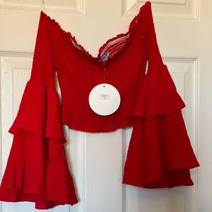 New W/ Tags red bell sleeve crop top